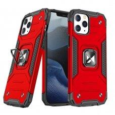 Dėklas Wozinsky Ring Armor Case Kickstand Tough Rugged iPhone 12 Pro / iPhone 12 Raudonas