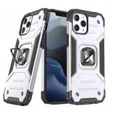 Dėklas Wozinsky Ring Armor Case Kickstand Tough Rugged  iPhone 12 Pro / iPhone 12 sidabrinis