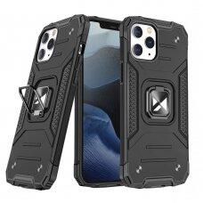 Dėklas Wozinsky Ring Armor Case Kickstand Tough Rugged iPhone 12 Pro Max Juodas