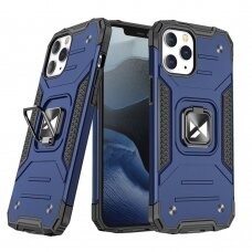 Dėklas Wozinsky Ring Armor Case Kickstand Tough Rugged iPhone 12 Pro Max mėlynas