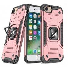 Dėklas Wozinsky Ring Armor Case Kickstand Tough Rugged iPhone SE 2020 / iPhone 8 / iPhone 7 rožinis