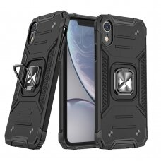 Dėklas Wozinsky Ring Armor Case Kickstand Tough Rugged iPhone XR Juodas