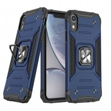 Dėklas Wozinsky Ring Armor Case Kickstand Tough Rugged iPhone XR mėlynas