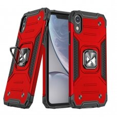 Dėklas Wozinsky Ring Armor Case Kickstand Tough Rugged iPhone XR Raudonas
