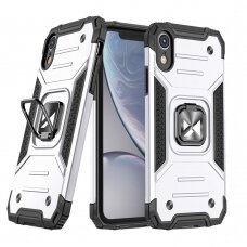 Dėklas Wozinsky Ring Armor Case Kickstand Tough Rugged iPhone XR sidabrinis