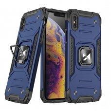 Dėklas Wozinsky Ring Armor Case Kickstand Tough Rugged iPhone XS / iPhone X mėlynas