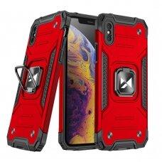 Dėklas Wozinsky Ring Armor Case Kickstand Tough Rugged  iPhone XS / iPhone X raudonas