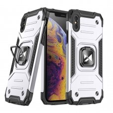 Dėklas Wozinsky Ring Armor Case Kickstand Tough Rugged iPhone XS / iPhone X sidabrinis