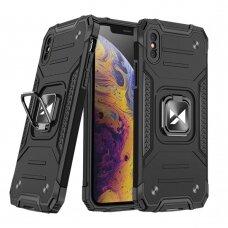 Dėklas Wozinsky Ring Armor Case Kickstand Tough Rugged iPhone XS Max Juodas