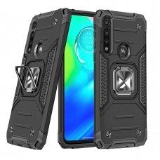 Dėklas Wozinsky Ring Armor Case Kickstand Tough Rugged Motorola Moto G8 Power Juodas