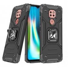 Dėklas Wozinsky Ring Armor Case Kickstand Tough Rugged Motorola Moto G9 Play Juodas