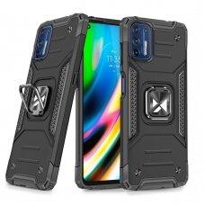 Dėklas Wozinsky Ring Armor Case Kickstand Tough Rugged Motorola Moto G9 Plus Juodas