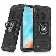 Dėklas Wozinsky Ring Armor Case Kickstand Tough Rugged Samsung Galaxy A20e Juodas