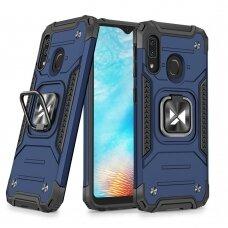 Dėklas Wozinsky Ring Armor Case Kickstand Tough Rugged Samsung Galaxy A20e Mėlynas