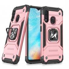 Dėklas Wozinsky Ring Armor Case Kickstand Tough Rugged Samsung Galaxy A20e Rožinis