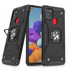 Dėklas Wozinsky Ring Armor Case Kickstand Tough Rugged Samsung Galaxy A21S Juodas