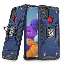 Dėklas Wozinsky Ring Armor Case Kickstand Tough Rugged Samsung Galaxy A21S Mėlynas