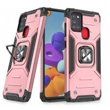 Dėklas Wozinsky Ring Armor Case Kickstand Tough Rugged Samsung Galaxy A21S Rožinis