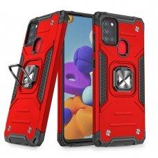 Dėklas Wozinsky Ring Armor Case Kickstand Tough Rugged Samsung Galaxy A21S Raudonas