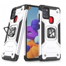 Dėklas Wozinsky Ring Armor Case Kickstand Tough Rugged Samsung Galaxy A21S Sidabrinis