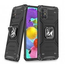 Dėklas Wozinsky Ring Armor Case Kickstand Tough Rugged Samsung Galaxy A51 5G Juodas