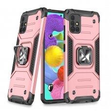 Dėklas Wozinsky Ring Armor Case Kickstand Tough Rugged Samsung Galaxy A51 5G Rožinis