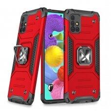 Dėklas Wozinsky Ring Armor Case Kickstand Tough Rugged Samsung Galaxy A51 5G Raudonas