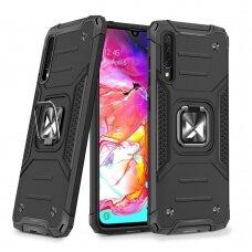 Dėklas Wozinsky Ring Armor Case Kickstand Tough Rugged Samsung Galaxy A70 Juodas