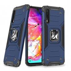 Dėklas Wozinsky Ring Armor Case Kickstand Tough Rugged Samsung Galaxy A70 Mėlynas