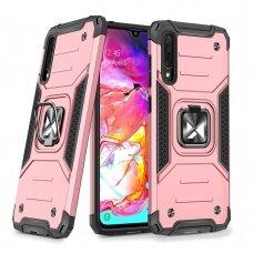Dėklas Wozinsky Ring Armor Case Kickstand Tough Rugged Samsung Galaxy A70 Rožinis