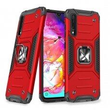 Dėklas Wozinsky Ring Armor Case Kickstand Tough Rugged Samsung Galaxy A70 Raudonas