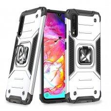 Dėklas Wozinsky Ring Armor Case Kickstand Tough Rugged Samsung Galaxy A70 Sidabrinis
