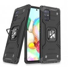 Dėklas Wozinsky Ring Armor Case Kickstand Tough Rugged Samsung Galaxy A71 Juodas