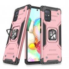 Dėklas Wozinsky Ring Armor Case Kickstand Tough Rugged Samsung Galaxy A71 Rožinis
