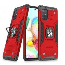 Dėklas Wozinsky Ring Armor Case Kickstand Tough Rugged Samsung Galaxy A71 Raudonas