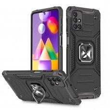 Dėklas Wozinsky Ring Armor Case Kickstand Tough Rugged Samsung Galaxy M31s Juodas