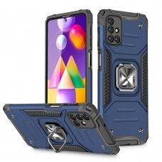 Dėklas Wozinsky Ring Armor Case Kickstand Tough Rugged Samsung Galaxy M31s Mėlynas