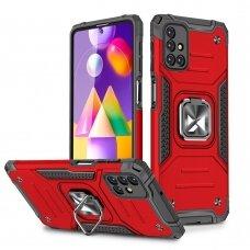 Dėklas Wozinsky Ring Armor Case Kickstand Tough Rugged Samsung Galaxy M31s Raudonas