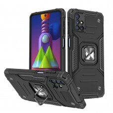 Dėklas Wozinsky Ring Armor Case Kickstand Tough Rugged Samsung Galaxy M51 Juodas