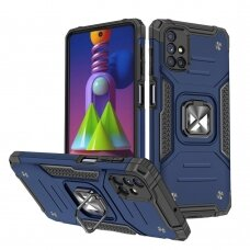 Dėklas Wozinsky Ring Armor Case Kickstand Tough Rugged Samsung Galaxy M51 Mėlynas
