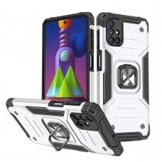 Dėklas Wozinsky Ring Armor Case Kickstand Tough Rugged Samsung Galaxy M51 Sidabrinis
