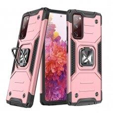 Dėklas Wozinsky Ring Armor Case Kickstand Tough Rugged Samsung Galaxy S20 FE 5G Rožinis