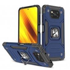Dėklas Wozinsky Ring Armor Case Kickstand Xiaomi Poco X3 Pro / Poxo X3 NFC Tamsiai mėlynas