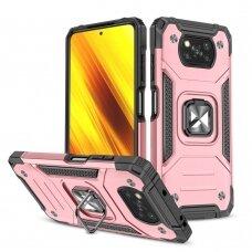 Dėklas Wozinsky Ring Armor Case Kickstand Xiaomi Poco X3 Pro / Poxo X3 NFC Rožinis