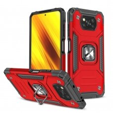 Dėklas Wozinsky Ring Armor Case Kickstand Xiaomi Poco X3 Pro / Poxo X3 NFC Raudonas