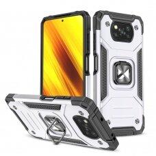 Dėklas Wozinsky Ring Armor Case Kickstand Xiaomi Poco X3 Pro / Poxo X3 NFC Sidabrinis