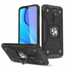 Dėklas Wozinsky Ring Armor Case Kickstand Tough Rugged Xiaomi Redmi 10X 4G / Xiaomi Redmi Note 9 Juodas