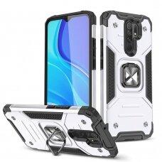 Dėklas Wozinsky Ring Armor Case Kickstand Tough Rugged Xiaomi Redmi 10X 4G / Xiaomi Redmi Note 9 Sidabrinis