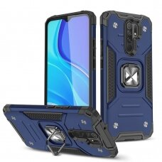 Dėklas Wozinsky Ring Armor Case Kickstand Tough Rugged Xiaomi Redmi 9 Mėlynas