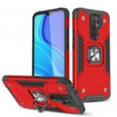 Dėklas Wozinsky Ring Armor Case Kickstand Tough Rugged Xiaomi Redmi 9 Raudonas